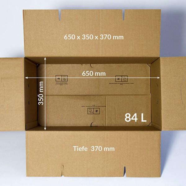 Großes Umzugskarton 650 x 350 x 370 mm, Volumen: 84 Liter, 2 Wellig, 40 kg Tragkraft